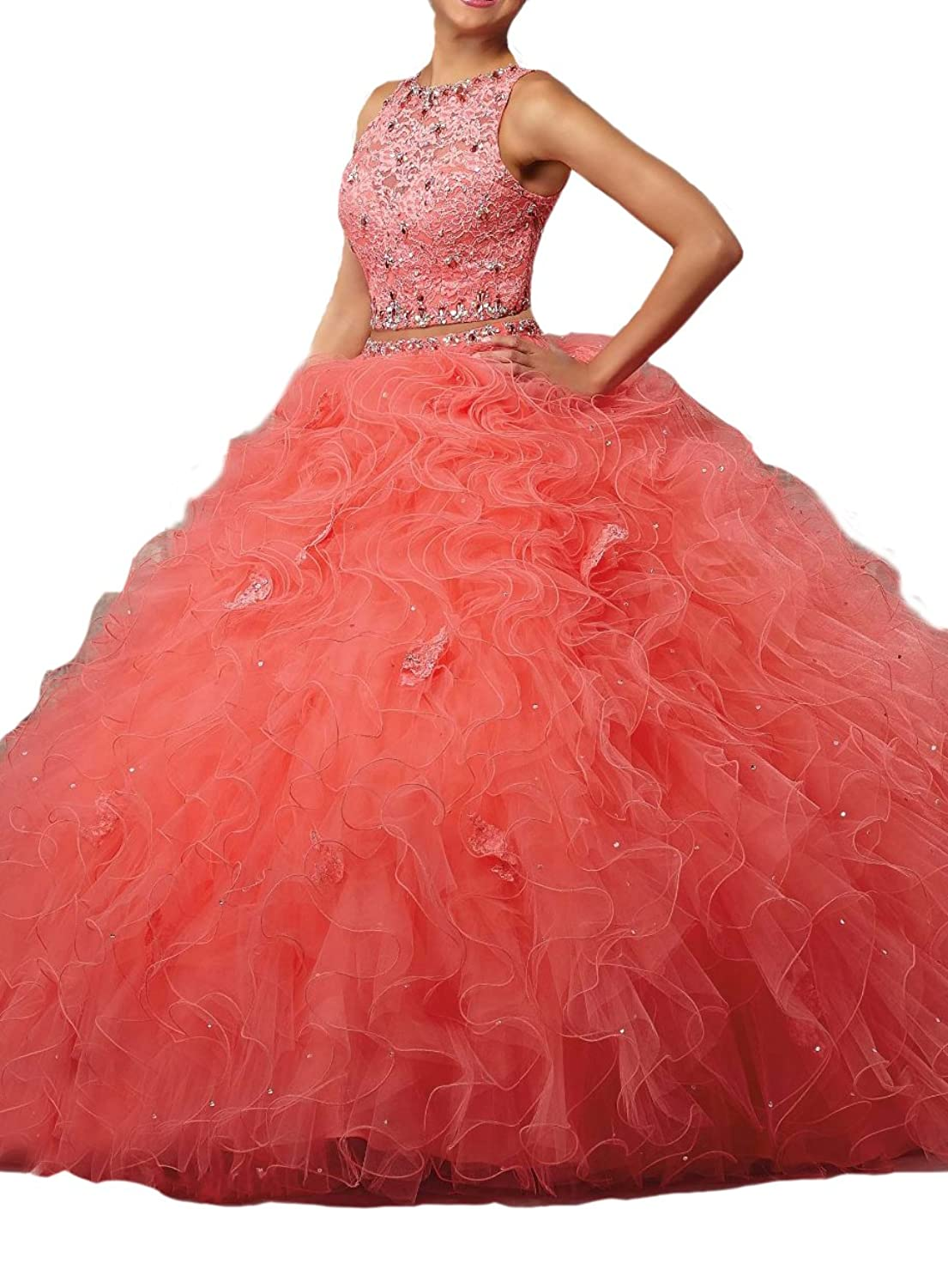 Engerla Women's Beaded Lace Princess Ball Gown Two Pieces Ruffles Organza Quinceanera Dress