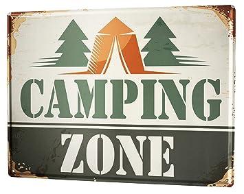 Cartel Letrero de Chapa Nostálgico Camping: Amazon.es: Hogar