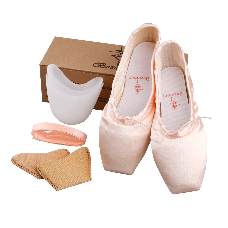Bezioner Ballet Pointe Shoes Girls Womens Dance Shoes Ribbon Toe Pads