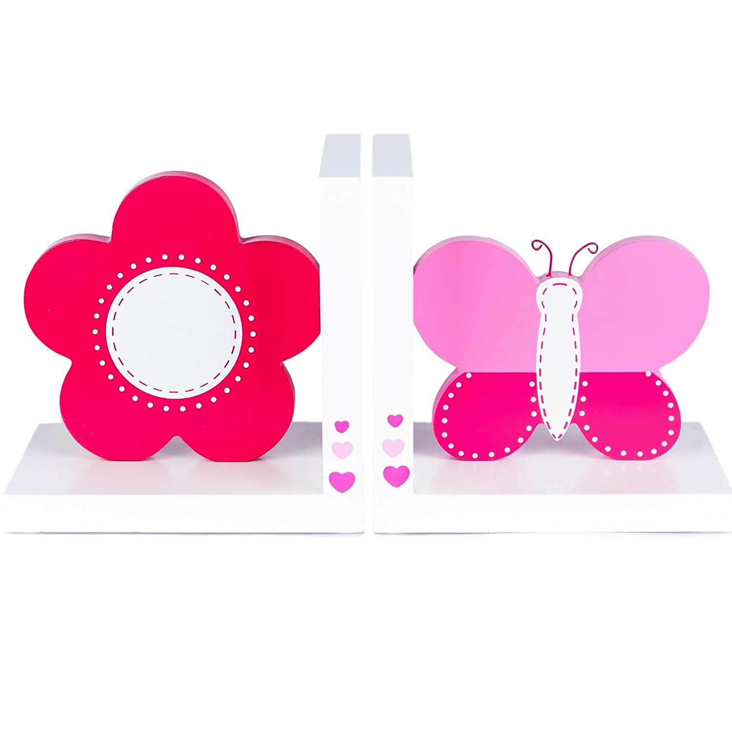 Gorgeous Pink Wooden Butterfly & Flower White Bookends by Tinkie Toys