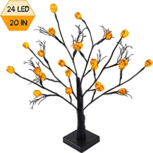 FUNARTY 24 LED Lighted Halloween Tree Battery Operated Birch Tree Lights Table Centerpiece with 24 Pumpkins for Indoor Home Desktop Party Halloween Decorations