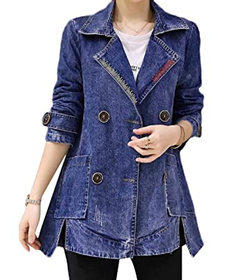 1a0f0ea5018 Tootless-Women Lounge Button Baggy Style Mid-Long Denim Jacket ...