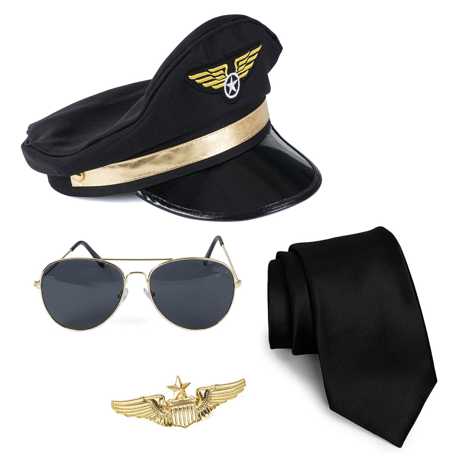 Tigerdoe Pilot Costume - 4 Piece Set for Adults and Teens Captain Accessories