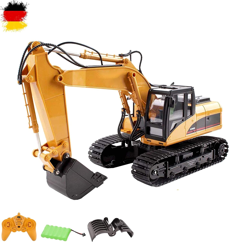 16 De Canal RC excavadora teledirigido 2.4 GHz Edition, alta calidad Muchas piezas de metal, 680 ° grados función rotatoria, luz, sonido, obras de vehículo, Garra, oruga excavadora