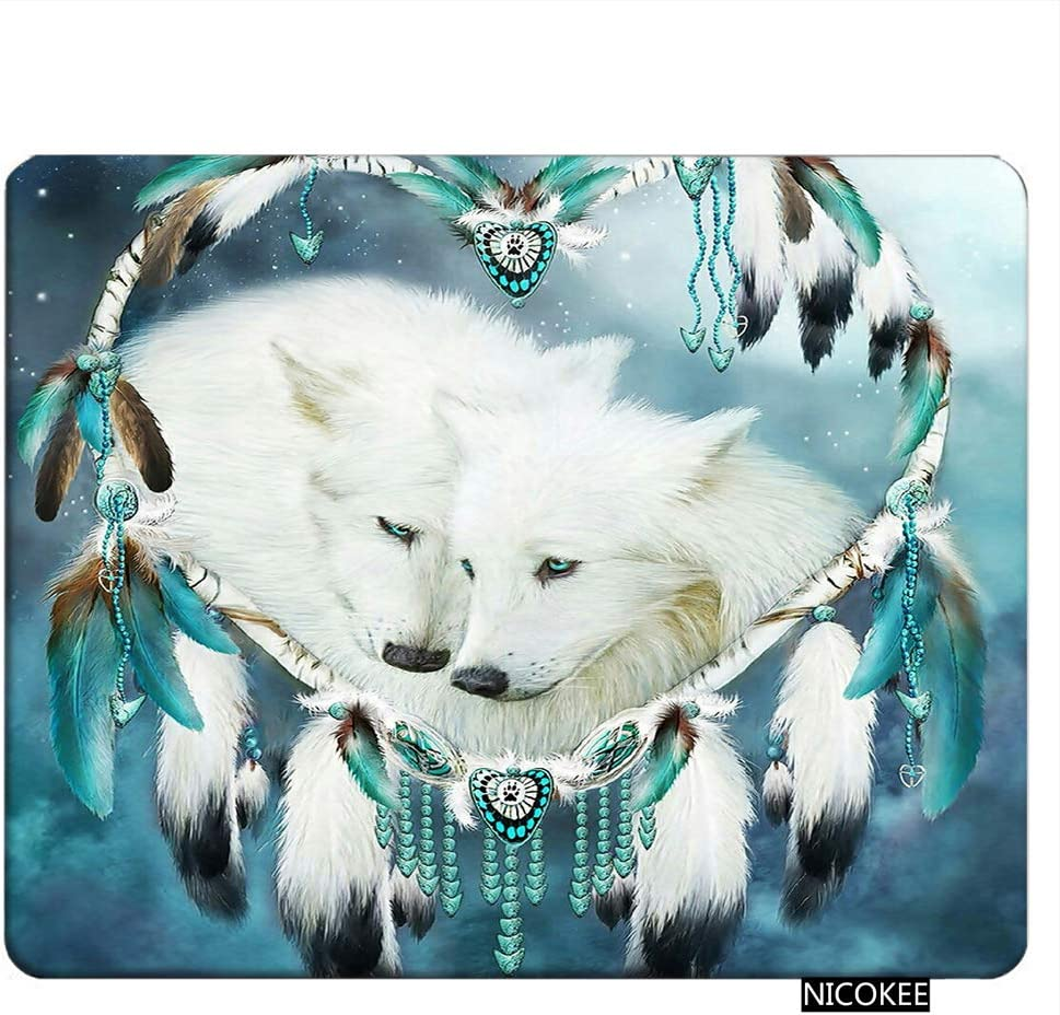 NICOKEE Wolf Rectangle Gaming Mousepad Cute White Wolf Dream Catcher Theme Mouse Pad Mouse Mat for Computer Desk Laptop Office 9.5 X 7.9 Inch Non-Slip Rubber