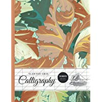 """Slanted Calligraphy Paper 50 Sheets 8.5""""x 11"""", Hand Lettering Practice Book - Beautiful Blossom Peach Flowers"""