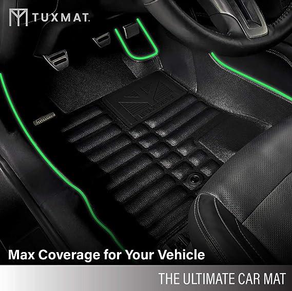 Largest Coverage Full Set - Black Waterproof TuxMat Custom Car Floor Mats for Volvo V60 2019-2021 Models/- Laser Measured All Weather