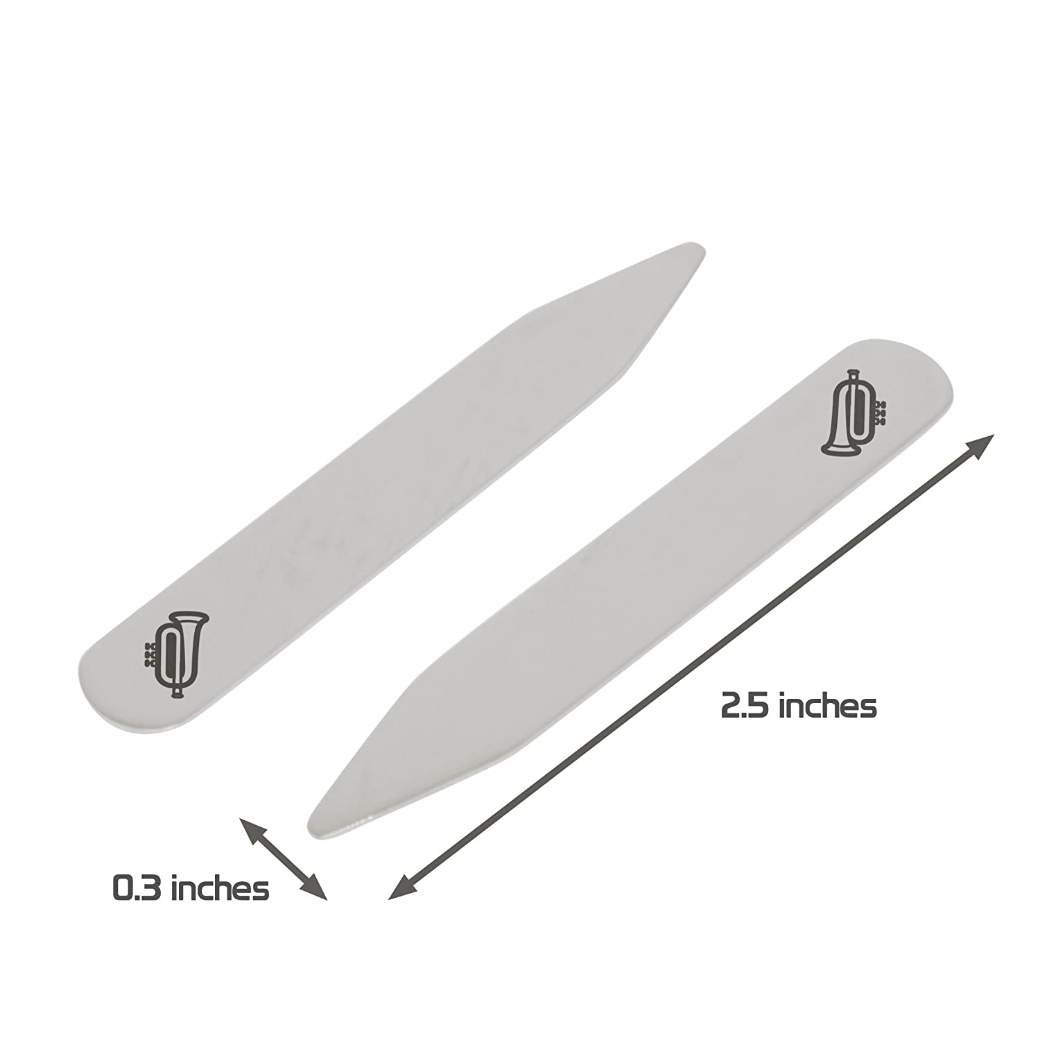 MODERN GOODS SHOP Stainless Steel Collar Stays With Laser Engraved Trumpet Design 2.5 Inch Metal Collar Stiffeners Made In USA