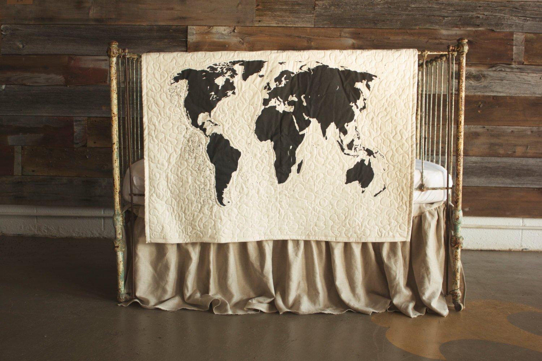 World Map - Linen Crib Quilt Baby Bedding - 36x45