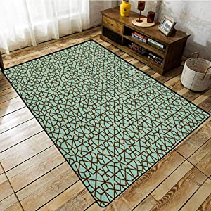 "Large Door mat,Moroccan,Arabic Design Geometry Ornament Classic Ancient Art Vacation Tourism Gateway,Super Absorbs Mud,4'7""x5'3"" Turquoise Black"