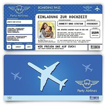 Einladungskarten Zur Hochzeit (30 Stück) Flugticket Mit Foto Einladung In  Blau
