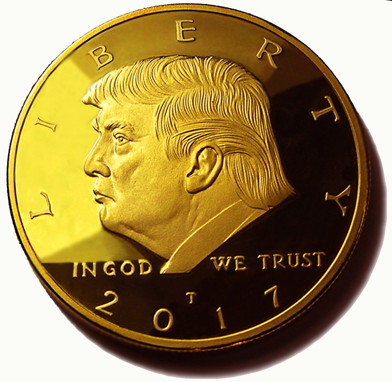 Choice Of 2017, 2018, 2019, 2020 Donald Trump Replica Gold Pieces, 45th Presidential Edition 24kt Gold Plated Medallion & Display Case ETradewinds