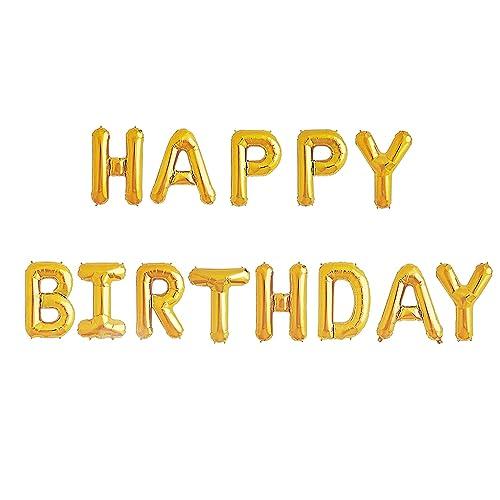 Happy Birthday Balloons Banner Gold Mylar Foil Letter For Kids Girl Adult Baby 1St 2Nd