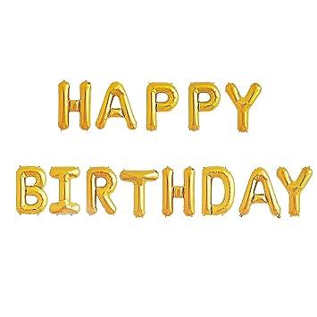 Amazon.com: Happy Birthday Balloons Banner   Gold Mylar Foil