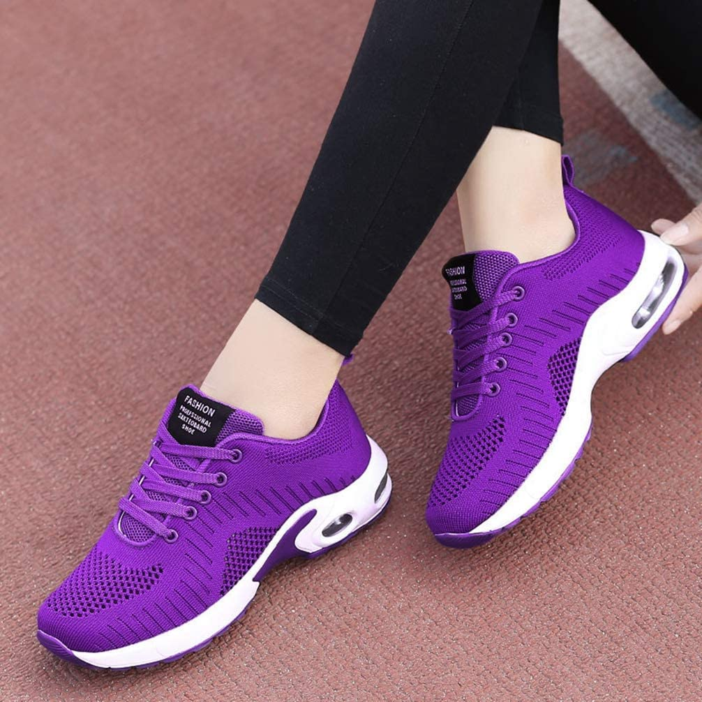 Yakoya Lady Fashion Mesh Running Shoes Lace Up Casual Wedges Shoes Basket Sneakers Women Purple