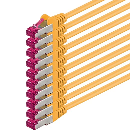 3 opinioni per 0,25m- giallo- 10 pezzi- Rete Cavi Cat6a | S-FTP | CAT 6a | doppia schermatura-
