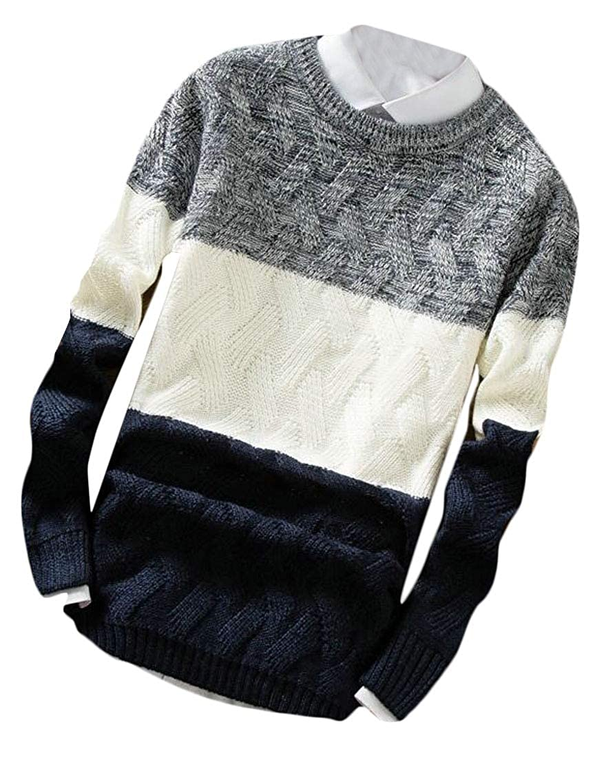WSPLYSPJY Mens Long Sleeve Autumn Contrast Color Knitwear Pullover Sweater