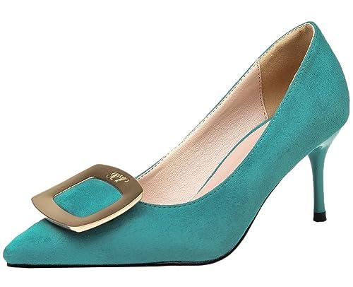 d21131fd De punta estrecha Zapatos de tacón Mujer Vestir Tacones altos De BIGTREE  Metal Hebilla Azul Zapatos 39 EU: Amazon.es: Zapatos y complementos