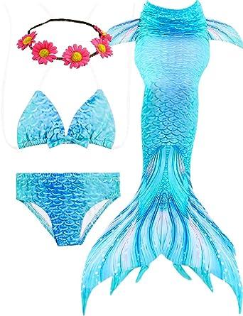 cb92194fa6 4Pcs Girls Swimsuit Mermaid Tails for Swimming Princess Bikini Bathing Suit  Set Valentine Gifts: Amazon.co.uk: Clothing