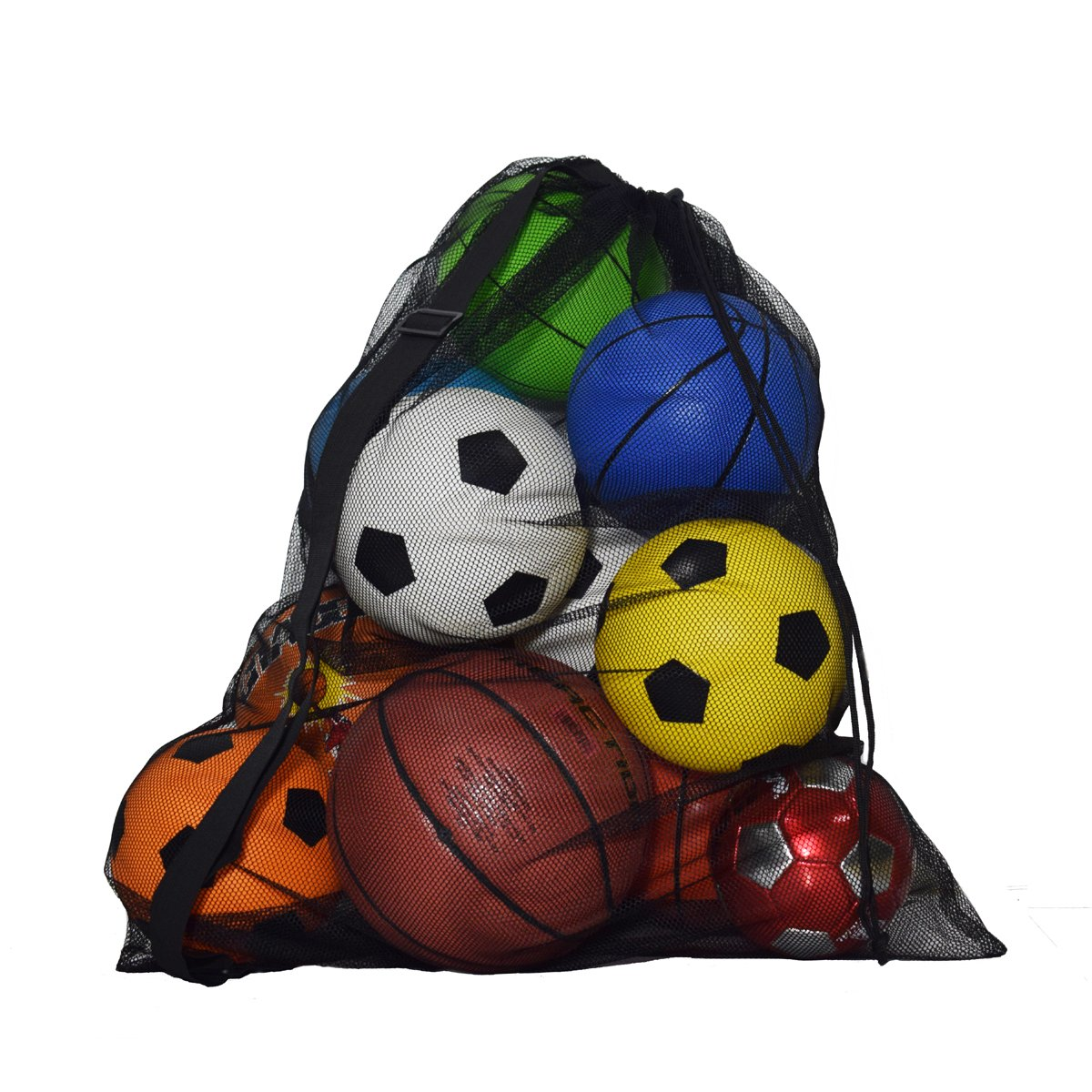 Pro-traveller Extra Large Sports Drawstring Mesh Ball Bag Training Equipment Storage Bag Diving Goods Organizer With Shoulder Strap