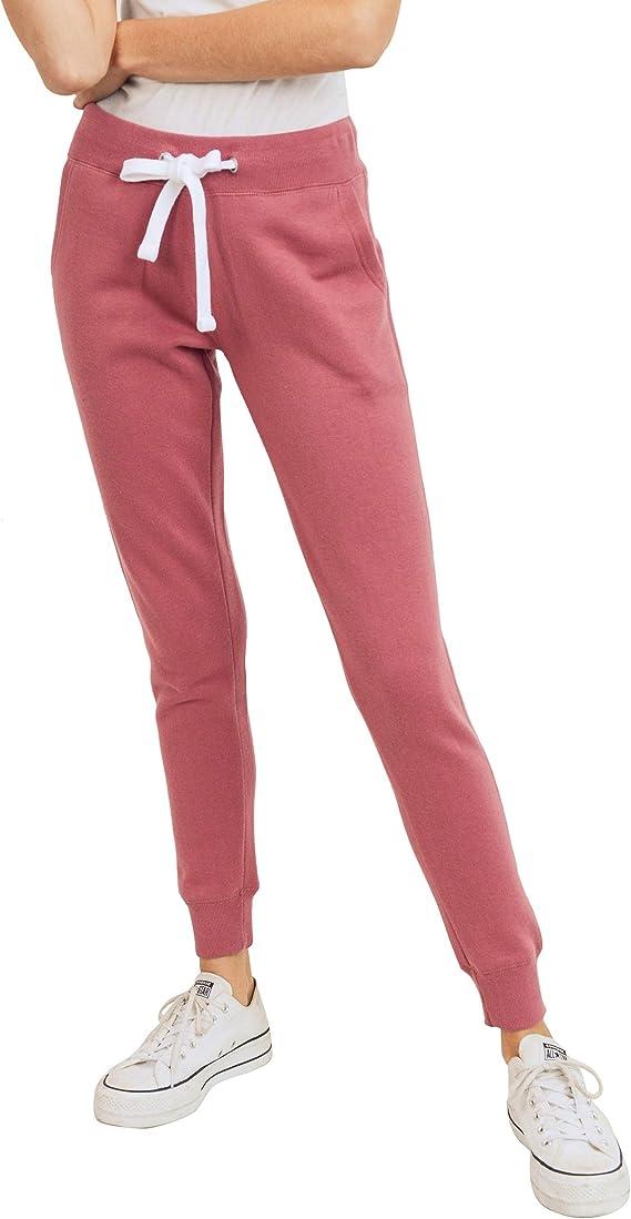 esstive Women's Basic Ultra Soft Fleece Solid Jogger Pants, Begonia Pink, Medium best women's joggers