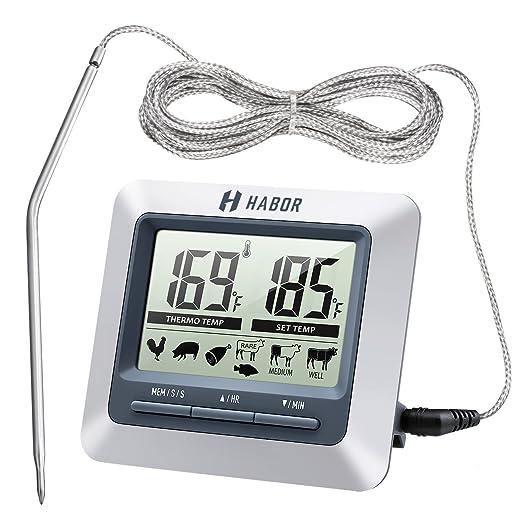 100 opinioni per Habor Termometro da Cucina Timer, Termometro Digitale LCD Display Sonda Acciaio
