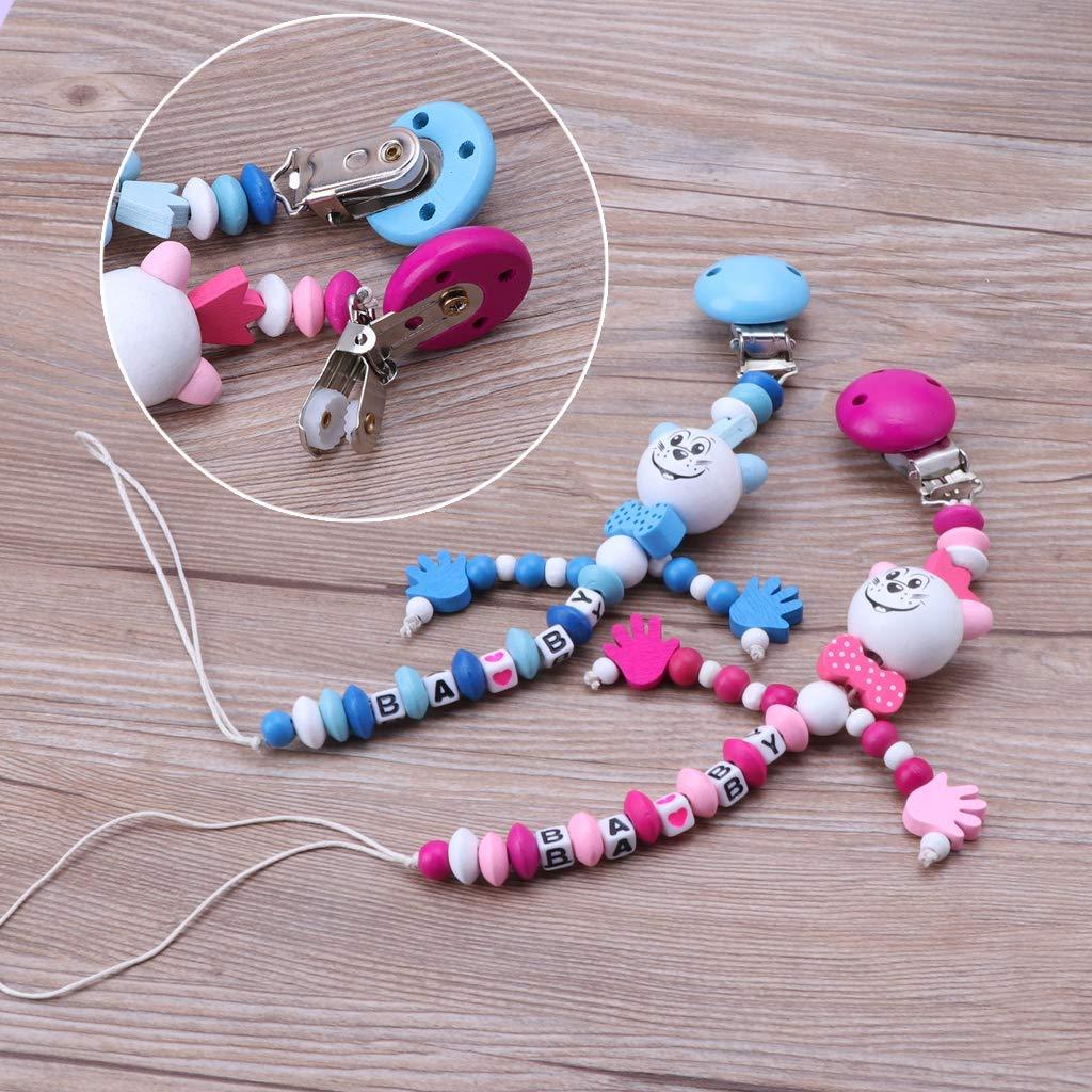 Ogquaton /Baby Chupete Clips Beech Wood Chupetero Cadena Dentici/ón Beads Holder para Reci/én Nacidos Ni/ños y Ni/ñas Ducha Regalo Hecho a Mano Universal Fit Premium Quality