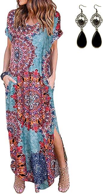UUAISSO Vestidos Mujer Maxi Vestido Mangas Cortas Boho Verano Playa Vestidos Cóctel Fiesta: Amazon.es: Ropa y accesorios