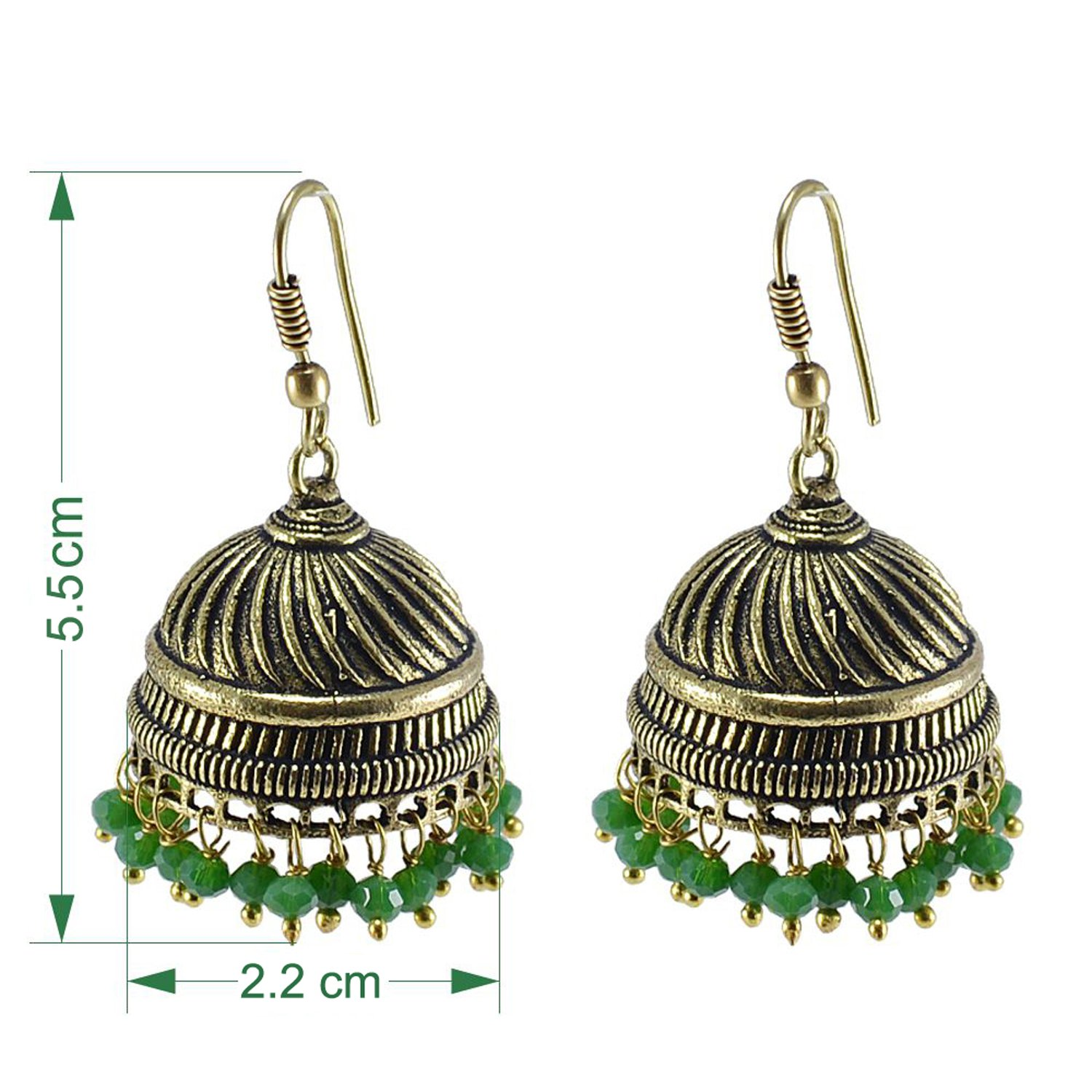 Silvesto India Jaipur Traditional Oxidized Brass Fashion Handmade Jhumki With Small Green Crystals PG-102485