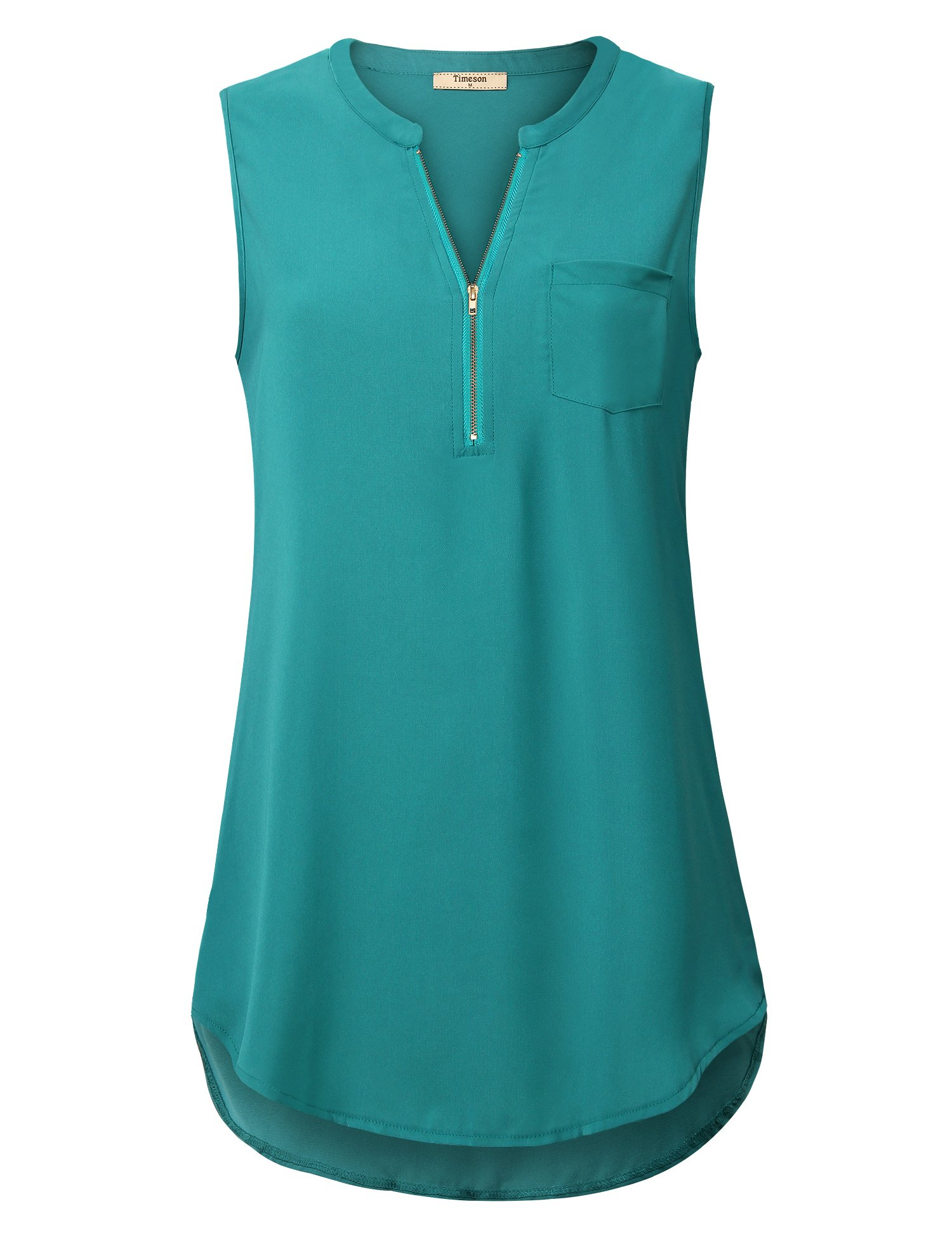 Timeson Sleeveless Tunics for Women, Ladies Chiffon Blouses V Neck Cute Casual Tank Tops Sleeveless Loose Fit Summer Zipper Tunics Tops for Office Wear Deep Cyan Medium