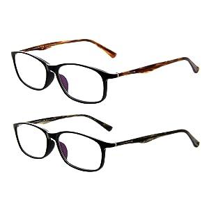 AMORAYS Designer Acetate Rectangle Slim Womens Mens Reading Glasses, +1.00