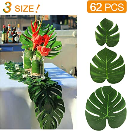 """KIDCHEER 62pcs Tropical Palm Leaves Party Decoration Supplies Artificial Monstera Plant Leaves for Hawaiian Luau Party Jungle Beach Theme Birthday Wedding Decorations Accessories 6"""" 8"""" 14"""""""