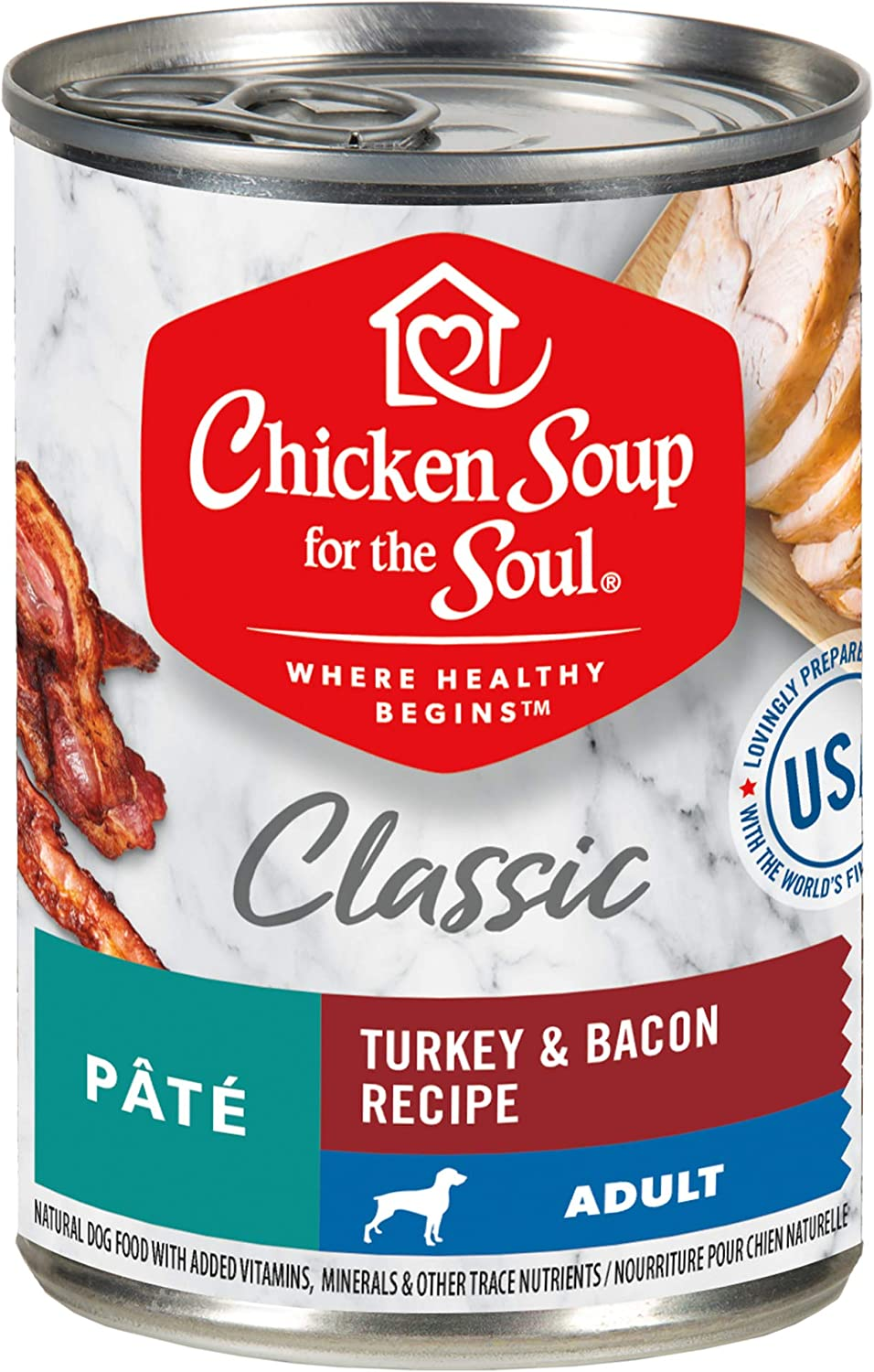 Chicken Soup for the Soul Pet Food - Classic Wet Dog Food - Turkey & Bacon Pate RecipeSoy Free, Corn Free, Wheat Free Dry Dog Food Made with Real Ingredients No Artificial Flavors or Preservatives