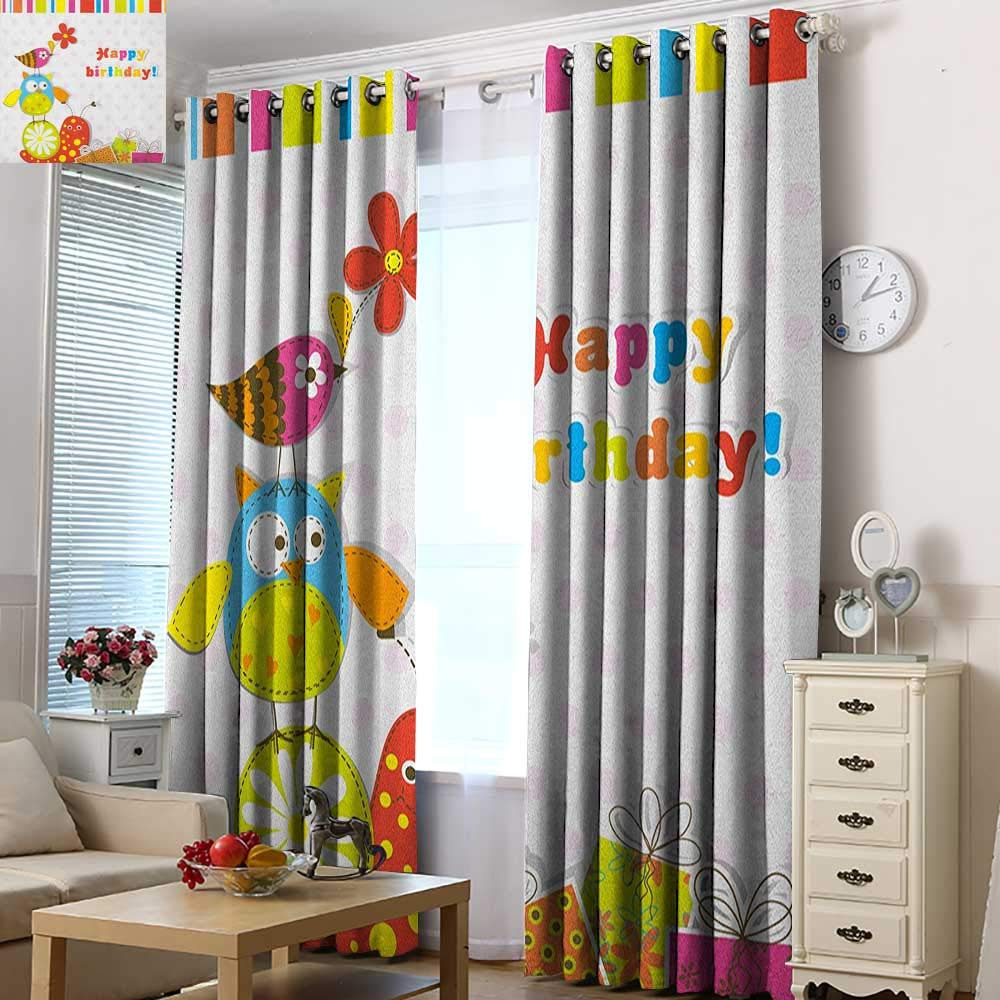 Acelik Waterproof Window Curtains Kids Birthday Patchwork Like Design with Owls Birds and Bugs Present Boxes on Polka Dots Room Darkening, Noise Reducing 72'' W x 84'' L Multicolor