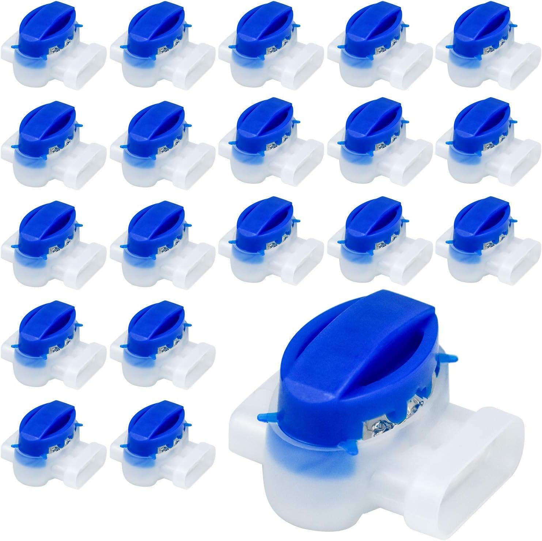 Wandefol 20pcs Conector de Cable con Gel, Conector de Cable para Robot, Conectores de Cable para Terminales, Conector de Cable para Robot Cortacésped y Cable de Diámetro 0.5-1.5mm Impermeable Ignífugo