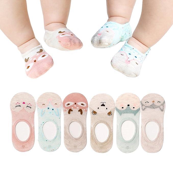 Amazon.com: 6 pares Bebé No Show calcetines lindo Animal ...
