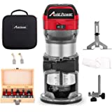 Avid Power 6.5-Amp 1.25 HP Compact Router with Fixed Base, 5 Trim Router Bits, Variable Speed, Edge Guide, Roller Guide and D