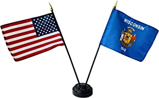 product image for Set of 24 4x6 E-Gloss Wisconsin Stick Flag w/U.S. Stick Flag & 2 Flag Plastic Table Base - Made in The USA