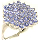 Luxurious Solid Sterling Silver Natural Tanzanite Cluster Ring