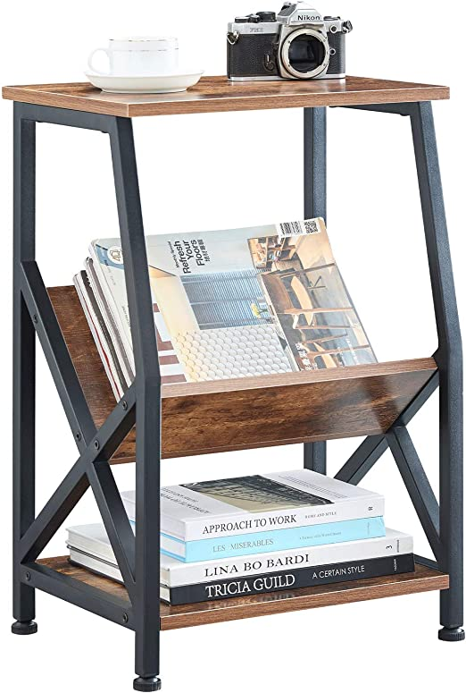 Retro Nightstand for Living Room /& Bedroom 2 Tier Magazine Rack Rustic End Table