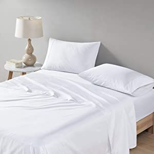 """Comfort Spaces Egyptian Cotton Sheets Set 500TC, Super Soft, Fade Resistant, 16"""" Deep Pocket, All Around Elastic - Year-Round Cozy Breathable Sheet, Anti-Microbial, Queen, White 4 Piece"""