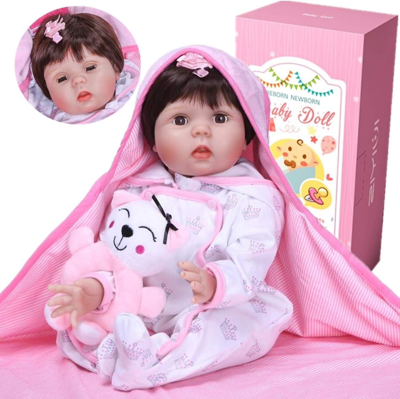 ZIYIUI 55 cm Reborn Baby Dolls Vinilo Suave Silicona Niña Muñeca Reborn bebé , Los Ojos de la niña se Pueden Abrir y Cerrar