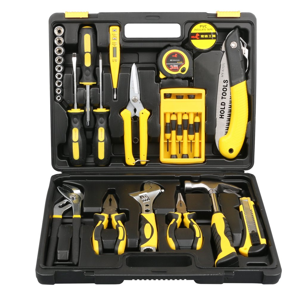 DOWELL 30 Pieces Homeowner Tool Set, Home Repair Hand Tool Kit with Plastic Tool box Storage Case