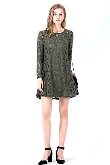 cae854a96b93 UP Ultrapink Missy Designer Allover Lace Lattice Cutout Back Trapeze Dress,  Olive, X-