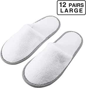 Foorame Spa Slippers, Indoor Hotel Slippers Closed Toe (Large Size, 12 Pairs), Disposable for Men and Women, Fluffy Coral Fleece, Deluxe Padded Sole for Extra Comfort