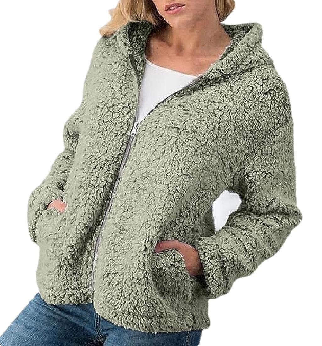 Joe Wenko Womens Solid Hooded Loose Zip Coat Jacket Warm Sweatshirts