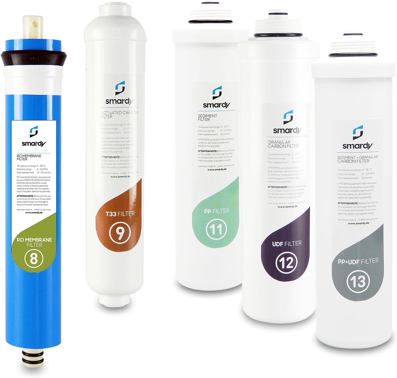 smardy 5x filtros de agua set filtros de repuesto Nr. 8 | 9 | 11 | 12 | 13 para Sistema de filtrado de agua smardy PRO 190: Amazon.es: Hogar