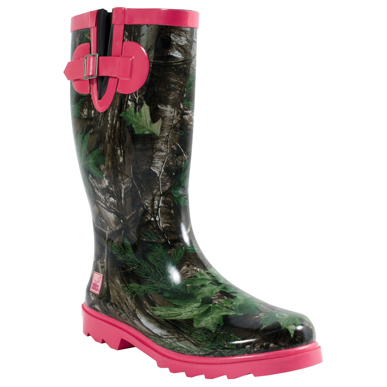 Realtree JoJo Womens Waterproof Rubber Rain Boots Xtra Green/Hot Pink - Size 8