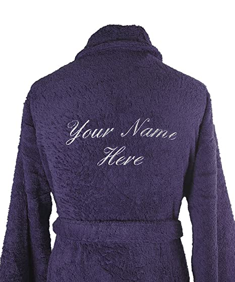 TowelsRus regalo personalizado egipcio cuello albornoz rizo m/l, con nombre bordado, Morado