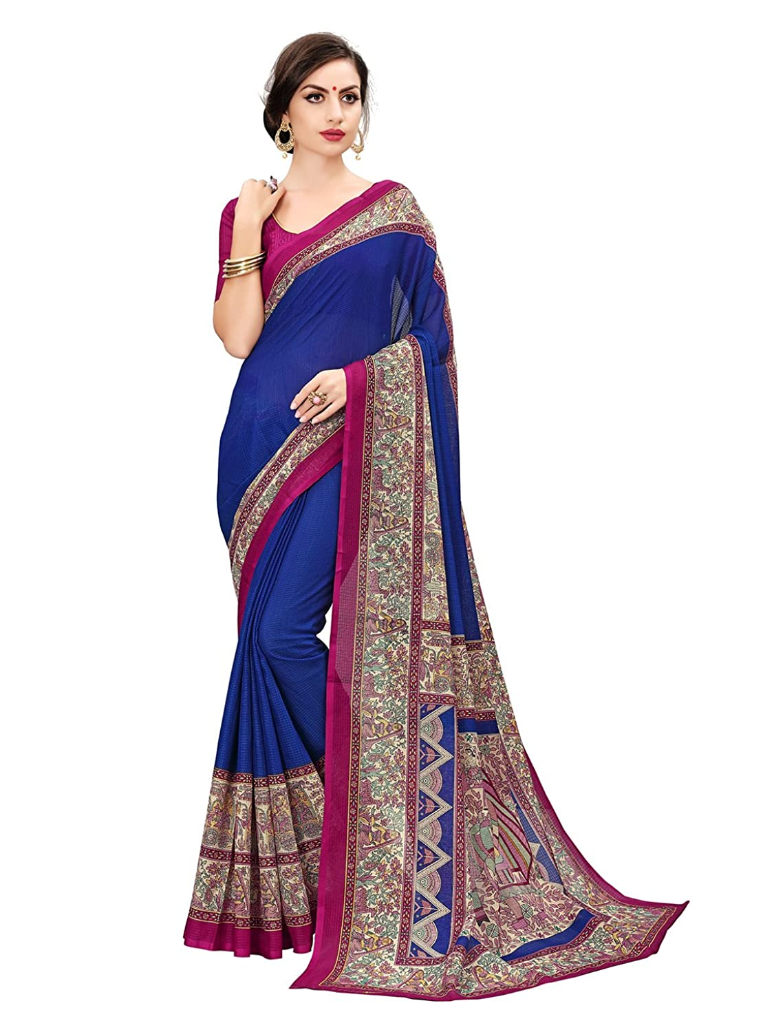 Women's Kalamkari Printed moonga cotton saree